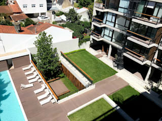 Edificio Verde en Mar del Plata Jardines modernos: Ideas, imágenes y decoración de Vivero Antoniucci S.A. Moderno