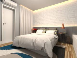Karen Oliveira - Designer de Interiores Yatak OdasıYataklar & Yatak Başları Orta Yoğunlukta Lifli Levha Gri