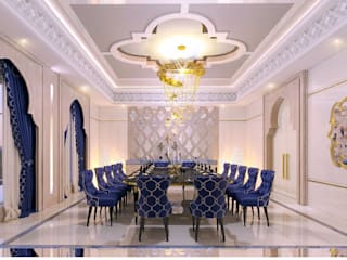 Interior desing of a formal dining room in Dubai house Spazio Interior Decoration LLC Salle à manger méditerranéenne Bleu