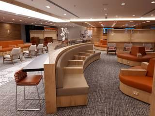 Karen Oliveira - Designer de Interiores Modern Havalimanları Orta Yoğunlukta Lifli Levha Turuncu