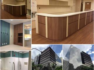 Karen Oliveira - Designer de Interiores Modern Hastaneler Orta Yoğunlukta Lifli Levha Bej