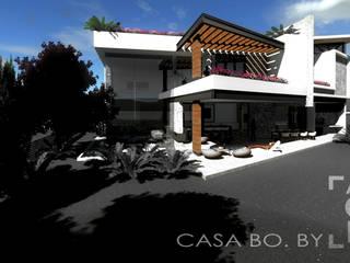 FACHADA POSTERIOR: Casas de estilo moderno por ArqCubo