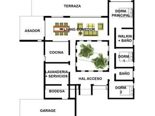 Proyecto Casa (Moderna o Mediterránea) 150m2: Casas de madera de estilo  por Constructora Rukalihuen