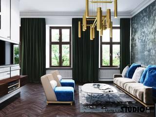 Salon z kolorowymi akcentami: styl , w kategorii Salon zaprojektowany przez MIKOŁAJSKAstudio