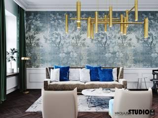 salon z piękną tapetą: styl , w kategorii Salon zaprojektowany przez MIKOŁAJSKAstudio