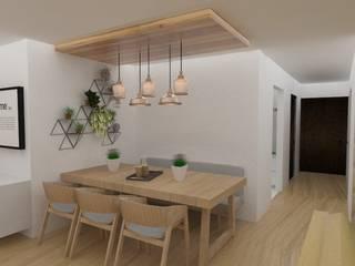 Diseño interior de departamento Comedores escandinavos de 78metrosCuadrados Escandinavo