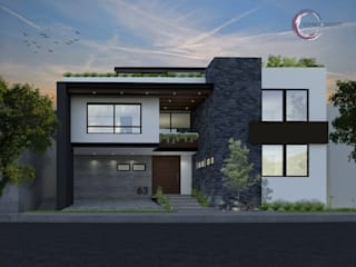 RENDER FACHADA: Casas de estilo moderno por Kombo Creativo