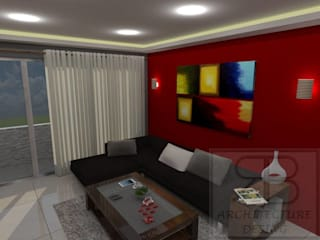 RB Arquitectura & Diseño Modern living room Ceramic Red