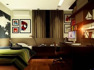 Arquitetura de Interiores, Quarto do Artur, Octogonal, Brasília IEZ Design Quartos modernos MDF Castanho