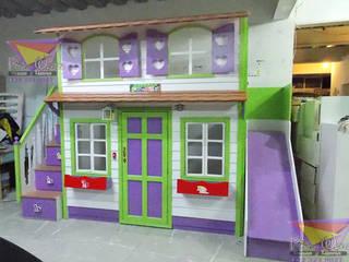 Preciosa casita de colores de camas y literas infantiles kids world Clásico Derivados de madera Transparente