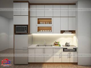 Hình ảnh thiết kế 3D tủ bếp Laminate nhà chị Vân:   by Nội thất Hpro