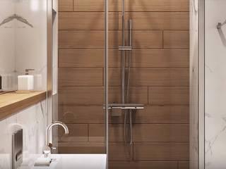 Светлая уютная ванная в стиле хай-тек с элементами скандинавии Ванная комната в скандинавском стиле от 'Комфорт Дизайн' Скандинавский
