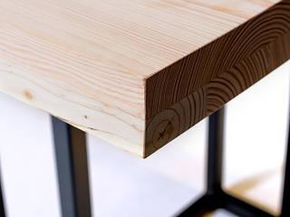 Esstisch aus Holz und Unterbau aus Metall Loft Massivholz:   von Isladesign