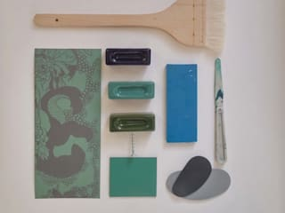 Ceramics handles – Rectangle – colour marine glossy glaze Viola Ceramics Studio ArteAltri oggetti d'arte Ceramica Verde