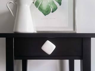Ceramics handles - Cube - colour white glossy glaze Viola Ceramics Studio ArteAltri oggetti d'arte Ceramica Bianco