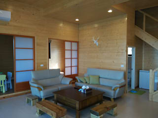 地興木屋有限公司 Asian style living room Solid Wood