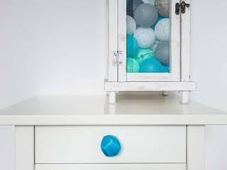 Ceramics handles – Polyhedron - colour turquoise crackle glossy glaze Viola Ceramics Studio ArteAltri oggetti d'arte Ceramica Blu