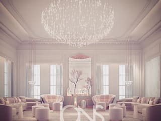 Glass House Inspired Ladies Majlis Room Design IONS DESIGN Living room Marble Pink
