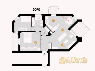 Planimetria di progetto:  in stile  di Alessandro Jurcovich Architetto