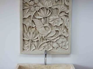 Long vessel Stone Marble Sink - Washbasin + Stone Relief: scandinavian Bathroom by Lux4home™ Indonesia