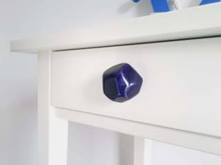 Ceramics handles – Polyhedron - colour cobalt glossy glaze Viola Ceramics Studio ArteAltri oggetti d'arte Ceramica Blu