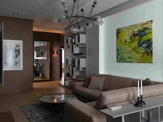 Дизайн-проект уютной квартиры в современном стиле, площадью 103 кв.м. Москва, ул. Малыгина: Гостиная в . Автор – Квадрат