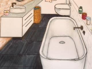 Industriële badkamer schets: industriële Badkamer door Studio Room by Room