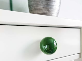 "Ceramics handles - Round 3,5 cm / 1,58"" - colour emerald green glossy glaze Viola Ceramics Studio CasaAccessori & Decorazioni Ceramica Verde"