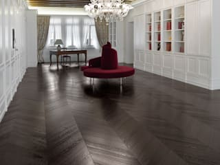 Wenge tone Wood floor - Oak Chevron 45 pattern Oficinas de estilo clásico de Cadorin Group Srl - Top Quality Wood Flooring Clásico