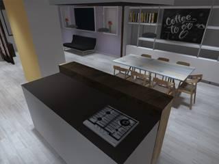 ATELIER3 Minimalist kitchen Slate Metallic/Silver
