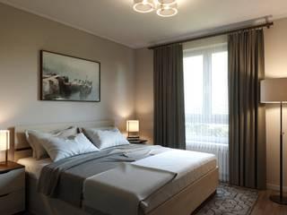 Дизайн спальной комнаты в двухкомнатной квартире г.Мытищи: Спальни в . Автор – Антон Булеков