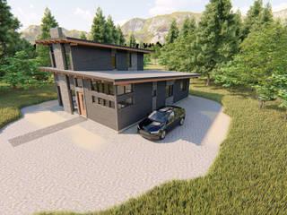 Vista aérea de Casa Levis. Espacio para garage:  de estilo  por Tila Design