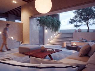 CASA FERREIRA DEL TORO : Salas de estilo  por ADRIAN CARDENAS BUILDING WORKSHOP