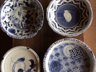 染付白抜き鷺文鉢、染付幾何文九寸皿などなど: 吉田崇昭が手掛けたです。