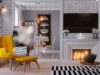 Небесная: Гостиная в . Автор – Design Service, Скандинавский