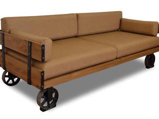 Sofá Industrial Bristol Asiento en Polipiel 80 x 206 x 80 cm:  de estilo  de Mueblesvintage