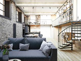 LOFT Гостиная в стиле лофт от STONE design Лофт