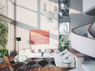 SALA CASA MORENO: Salas multimedia de estilo  por ADRIAN CARDENAS BUILDING WORKSHOP