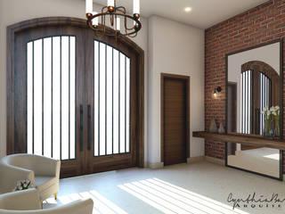: Pasillos y recibidores de estilo  por Cynthia Barragán Arquitecta