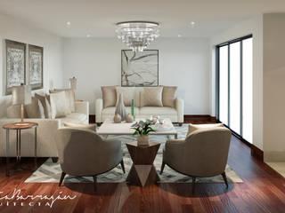 Sala: Salas de estilo  por Cynthia Barragán Arquitecta