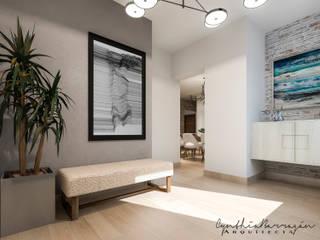 Recibidor: Pasillos y recibidores de estilo  por Cynthia Barragán Arquitecta