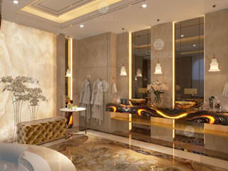 Luxury Master Bathroom with Onix finishing:  حمام تنفيذ Spazio Interior Decoration LLC,كلاسيكي