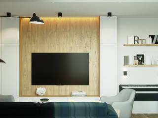 Квартира 79м2 в японо-скандинавском стиле : Гостиная в . Автор – Lines