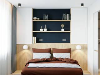 Квартира 79м2 в японо-скандинавском стиле : Спальни в . Автор – Lines