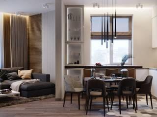 Квартира 101м2 в современном стиле : Гостиная в . Автор – Lines