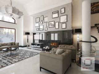 Projekt wnętrza domu w stylu nowojorskim Eklektyczny salon od MIRAGE STUDIO Sebastian Rzymski Eklektyczny