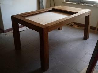 Stół dębowy z komorą pod blatem: styl , w kategorii  zaprojektowany przez NaLata - Meble Drewniane, Ariel Młotkowski