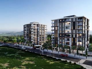 Ceren Kaya Mimarlık – MD Park Evleri Dış Mekan:  tarz Apartman