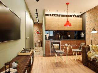Мини-лофт для байкера Гостиные в эклектичном стиле от PROROOMS Эклектичный