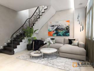Дизайн интерьера 2х уровневой квартиры в ЖК Green Ville Гостиная в скандинавском стиле от Студия дизайна интерьера L'grans Скандинавский